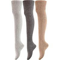 Lovely Annie Big Girl's 3 Pairs Fashion Thigh High Cotton Socks Over the Knee High Leg Wamers A2JMYP1025 Size L/XL(US)