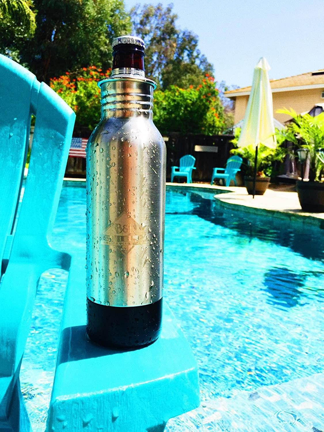 Brew & Beer Shield: Stainless Steel Beer Insulator Protect Conceal 12 ounce glass bottles. Ideal beer lover gift. Perfect for Pool Spa Beach Tailgating Beer Bottle Holder Keeper My Home Tavern