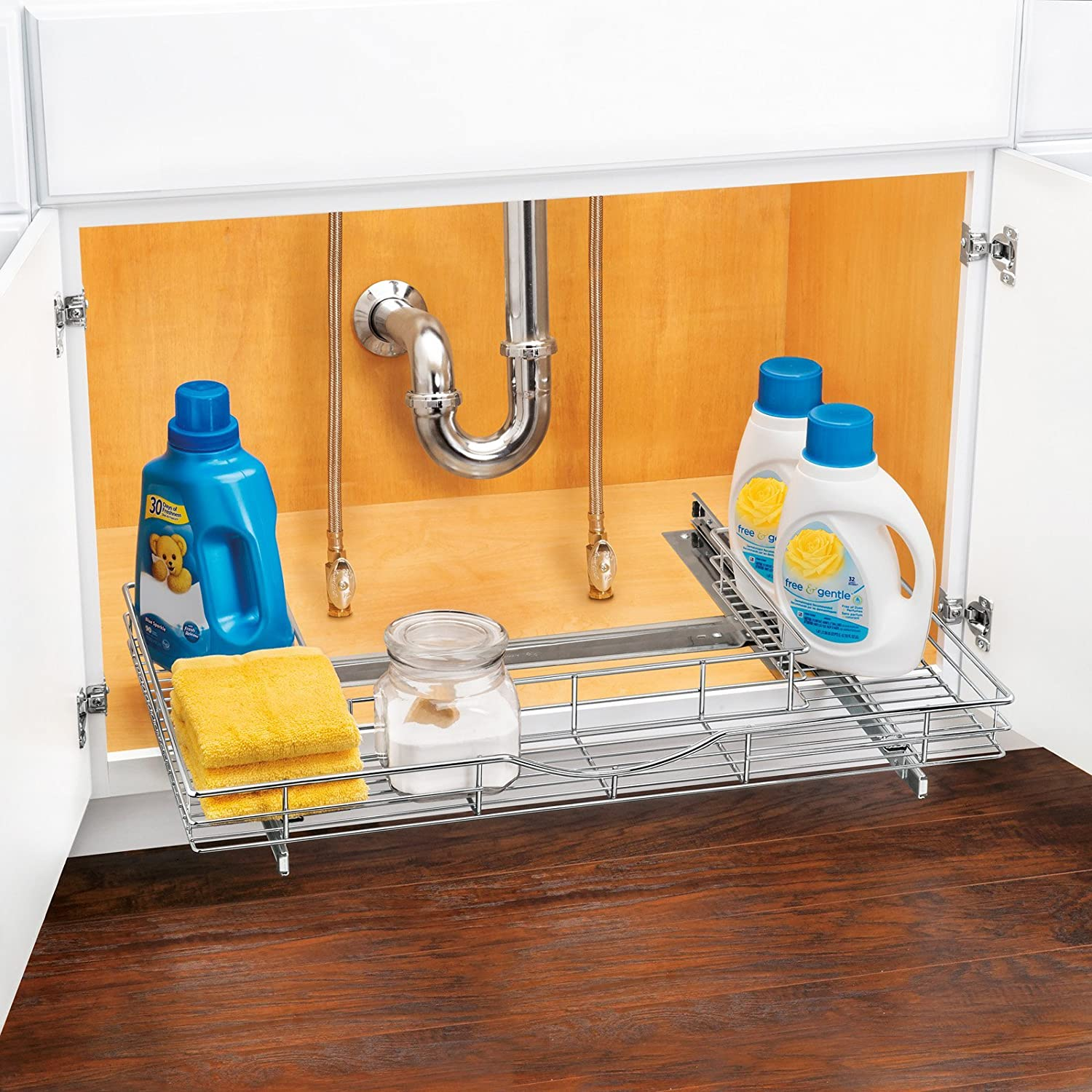 Lynk roll out under sink cabinet organizer pull out two tier sliding - Amazon Com Lynk Professional U Shaped Roll Out Under Sink Drawer Pull Out Under Cabinet Organizer Shelf Chrome Home Kitchen