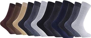 Calcetines para hombre 100% algodón acanalado todos los días Calcetines de pantorrilla Paquete de 12 (EU 39-45, Mix Colour): Amazon.es: Ropa y accesorios