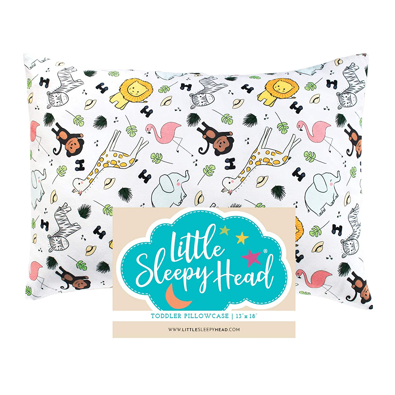 Little Sleepy Head Toddler Pilllowcase 13 x 18-100/% Cotton /& Hypoallergenic Happy Elephants - White