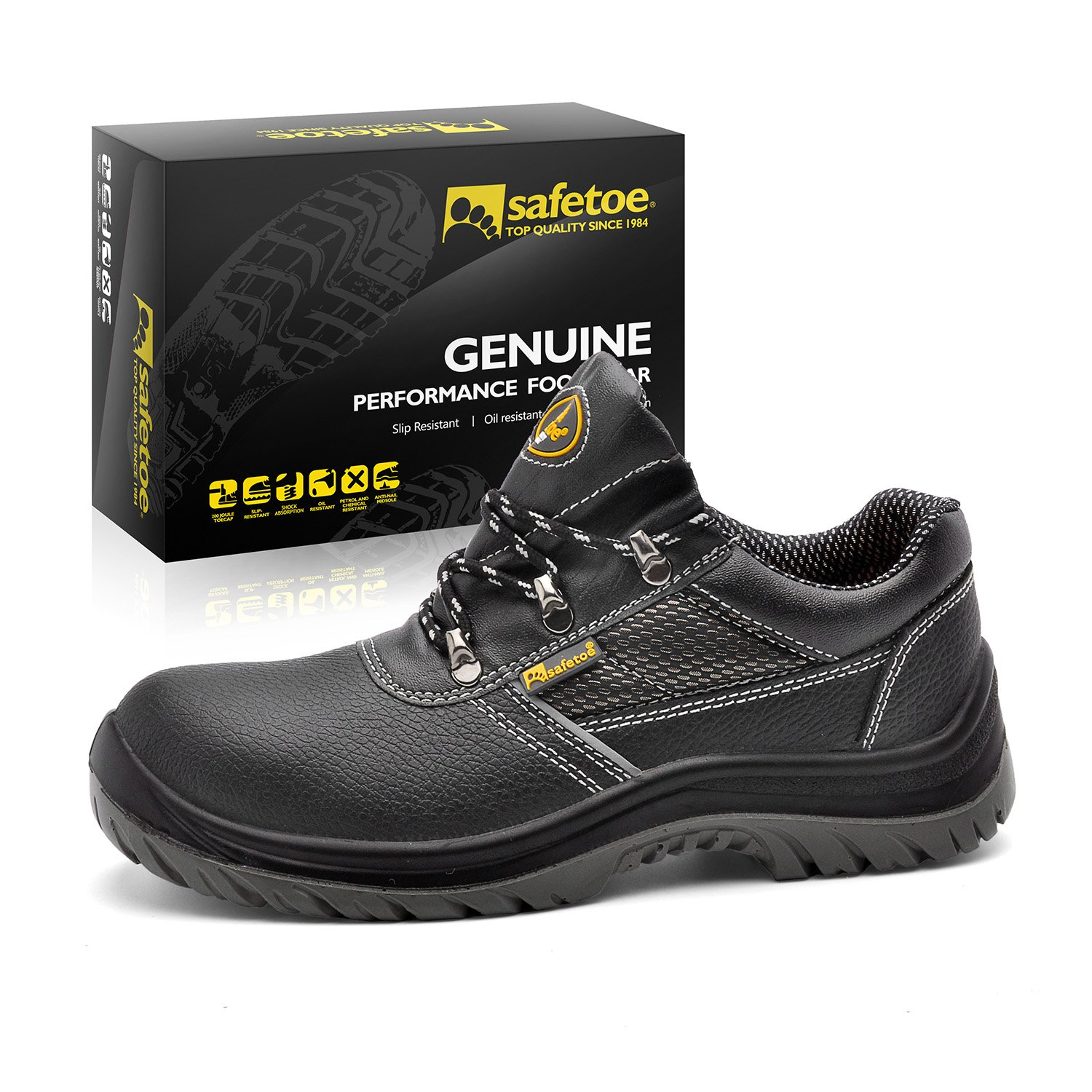 SAFETOE Men Steel Toe Cap Safety Shoes - L7222 Water Resistant Lightweight Leather Work Boots