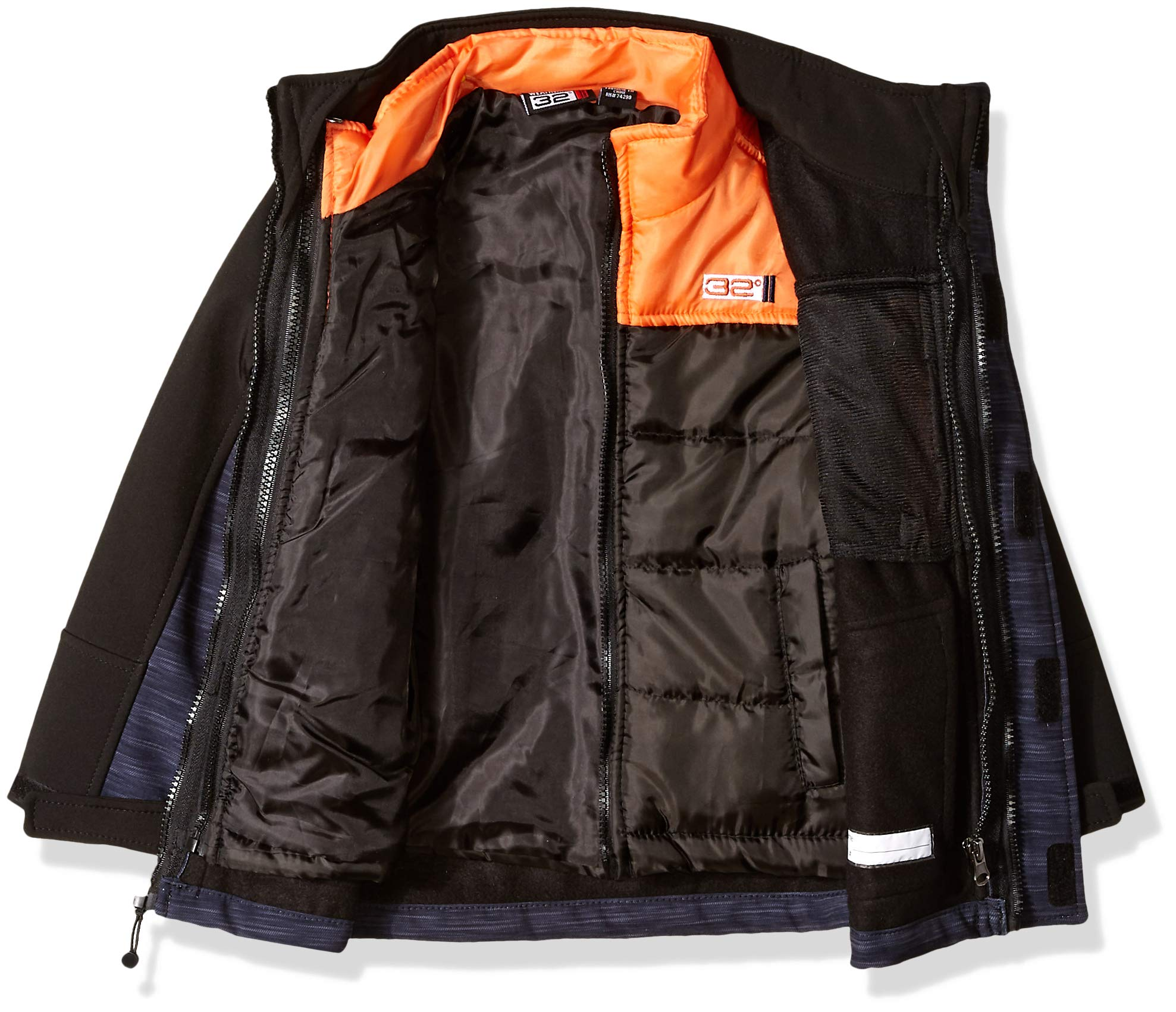 32 DEGREES Weatherproof Boys' Little Outerwear Jacket (More Styles Available), Softshell Systems Charcoal Heather/Black, 4 by 32 DEGREES (Image #3)