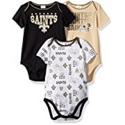 NFL New Orlean Saints Unisex-Baby 3-Pack Short Sleeve Bodysuits, Black, 0-3 Months