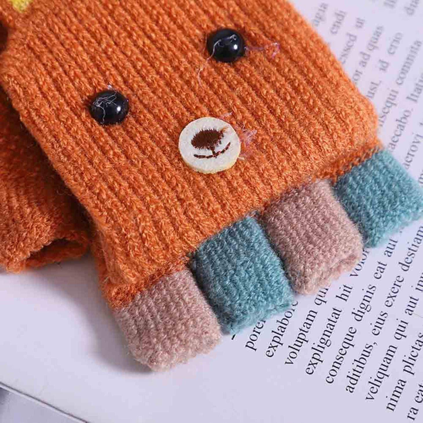 Ihenzh Gut aussehende 1-3 Jahre alte Jungen und M/ädchen Winter Handschuhe Cartoon Kaninchen Halbfinger Flip Handschuhe Warm Strick Handschuhe Pk