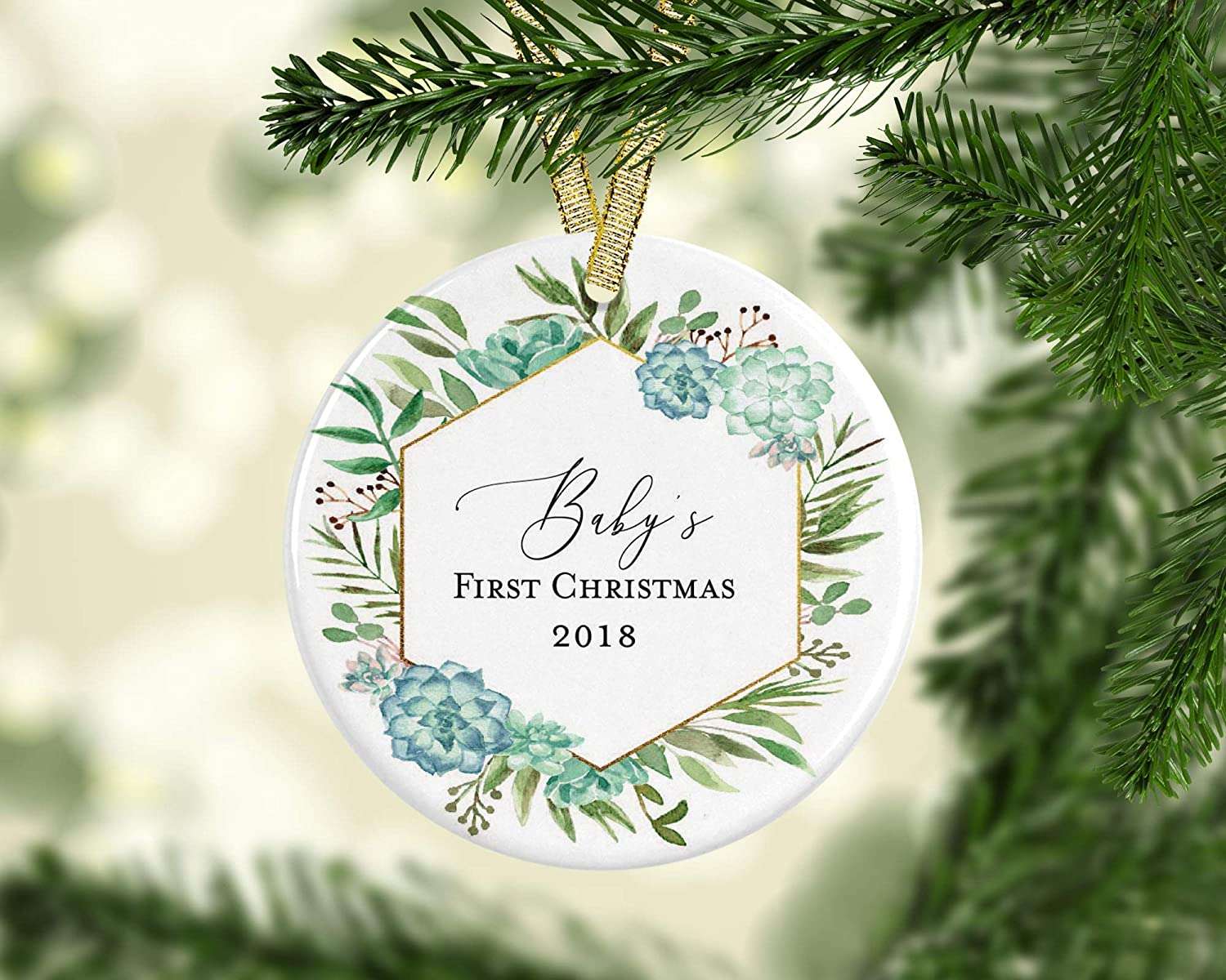 cd920f0ba83 Amazon.com: New Baby Boy's First Christmas 2018 Modern Farmhouse 3