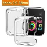 Funda Apple Watch 38mm Series 2/ Series 3 [2 piezas], PEMOTech Suave TPU Protector de Pantalla [Cobertura Completa] [0.3mm Ultra delgado][HD Claro ][Anti-Arañazos][Fácil Instalación] Funda para Apple Watch Series 2/ Series 3 (38mm)