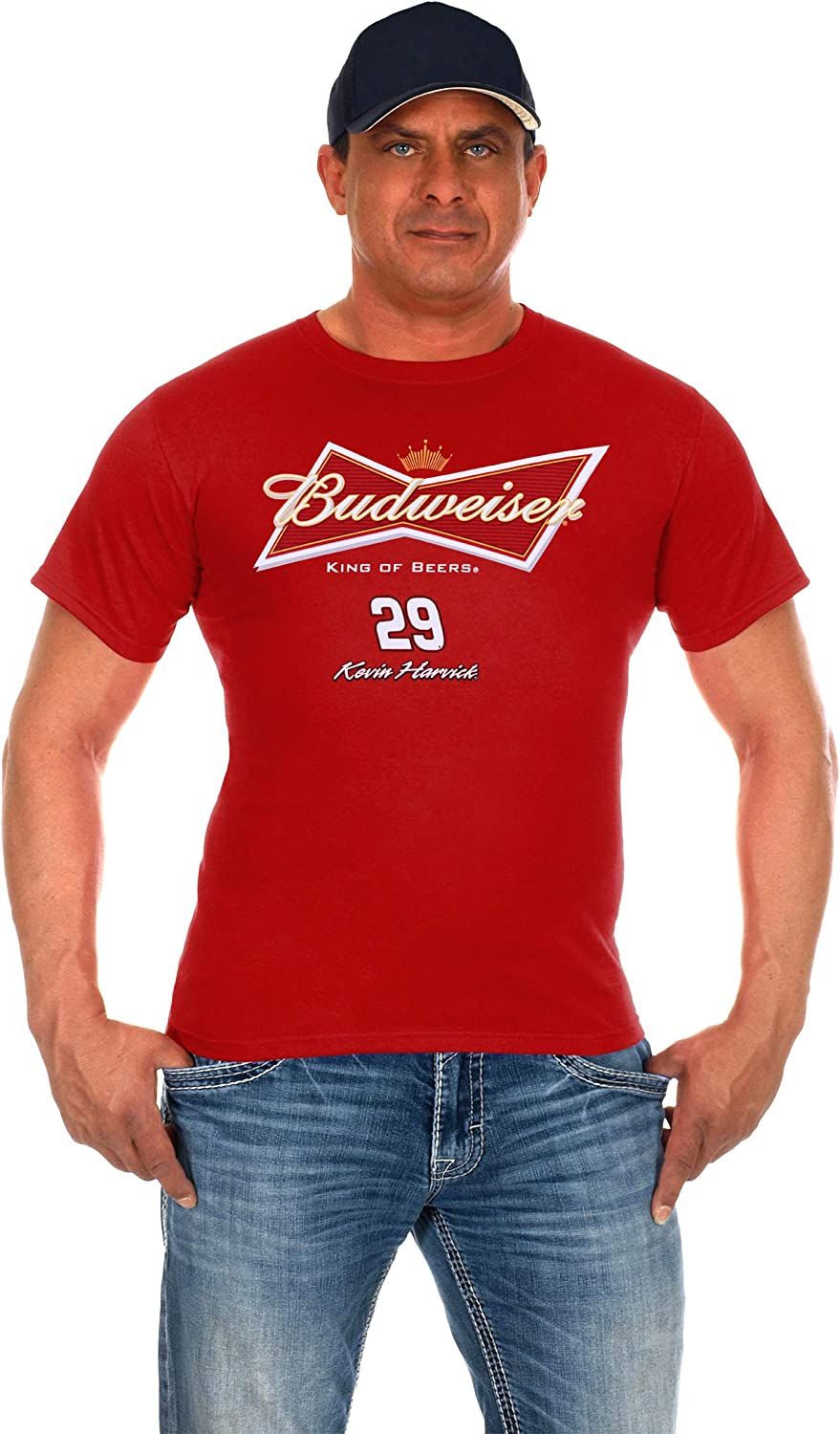 Men's Kevin Harvick #29 Budweiser Nascar T-Shirt Two Styles Black & Red