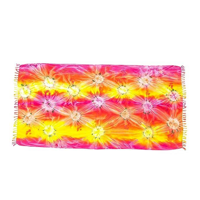 MANUMAR Sarong | Toalla de playa Pareo | Tela ligera naranja e amarillo e rosa en