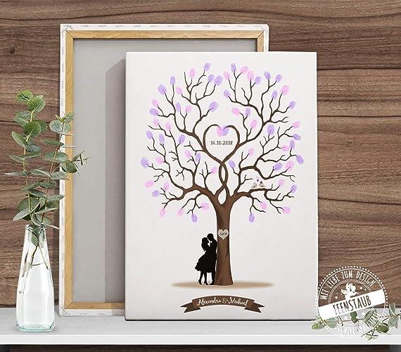 Fingerabdruck Baum Wedding Tree Hochzeitsbaum Gastebuch Alternative Fur Hochzeit Leinwand Papier