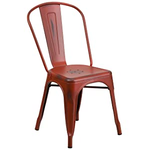 Flash Furniture Distressed Kelly Red Metal Indoor-Outdoor Stackable Chair