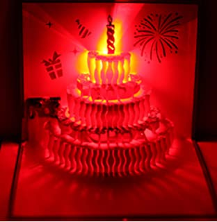 3D Pop Up Greeting Cards LED Light Happy Birthday Music Card Postcards Cake