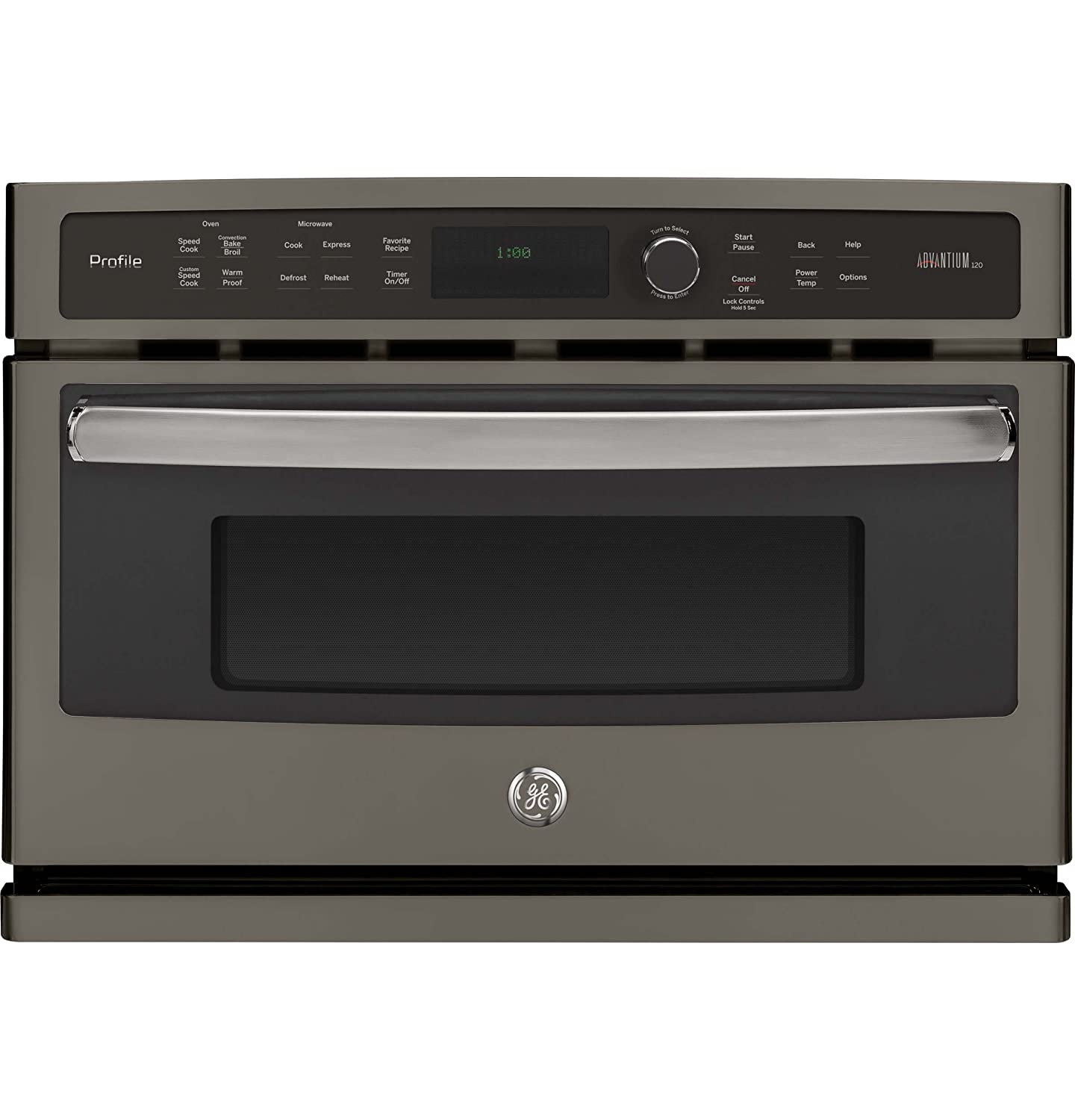 "GE PSB9100EFES Profile Advantium 27"" Slate Electric Single Wall Oven - Convection - Speed Oven"