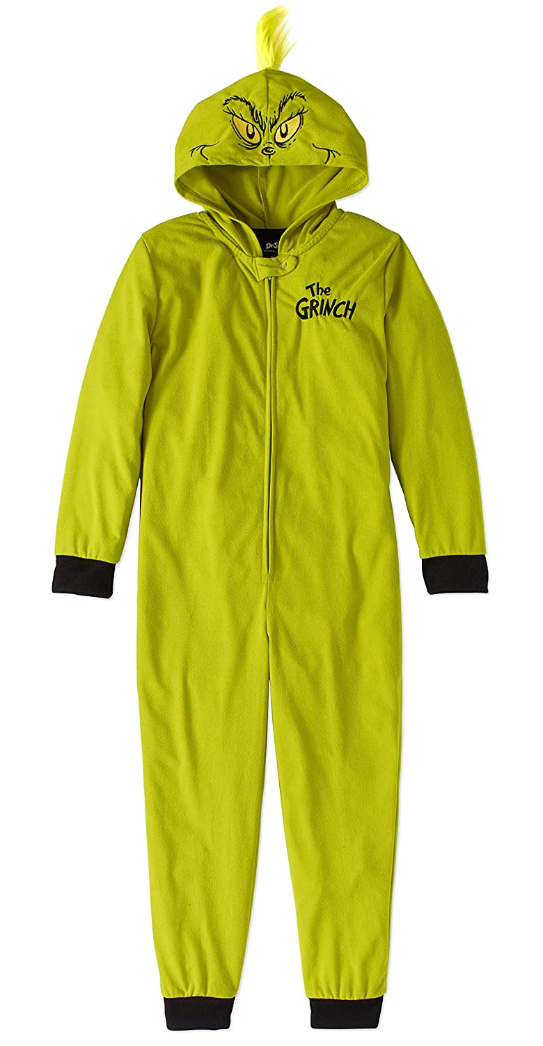 MJC Inc. Child Girls Boys Dr. Seuss The Grinch Stole Christmas One Piece Hooded Pajamas