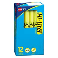 HI-LITER Pen Style Highlighter, Chisel Tip, Fluorescent Yellow Ink, 12/Pack