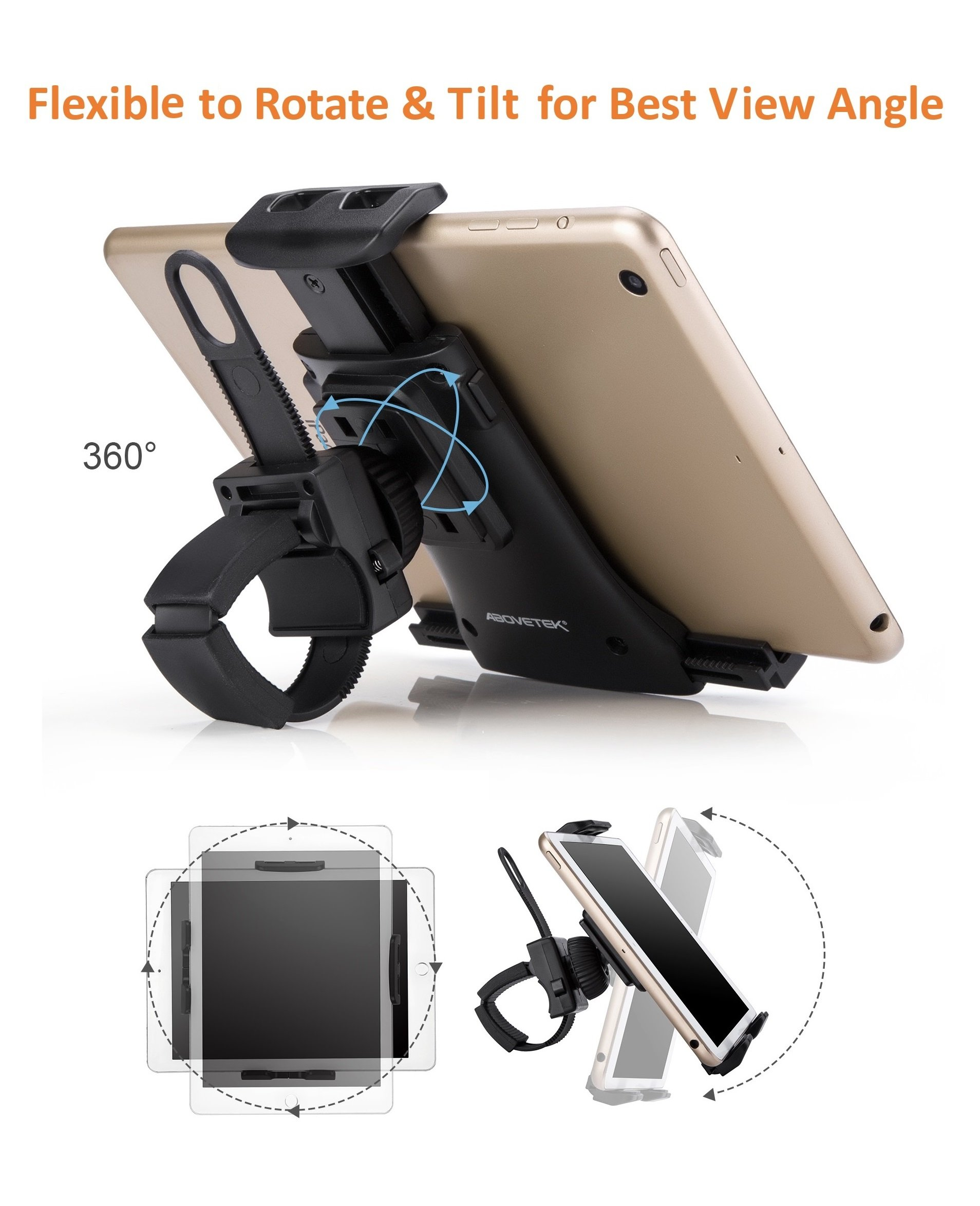 AboveTEK All-In-One Cycling Bike iPad/iPhone Mount, Portable Compact Tablet Holder for Indoor Gym Handlebar on Exercise Bikes & Treadmills, Adjustable 360° Swivel Stand For 3.5-12'' Tablets/Cell Phones by AboveTEK (Image #3)