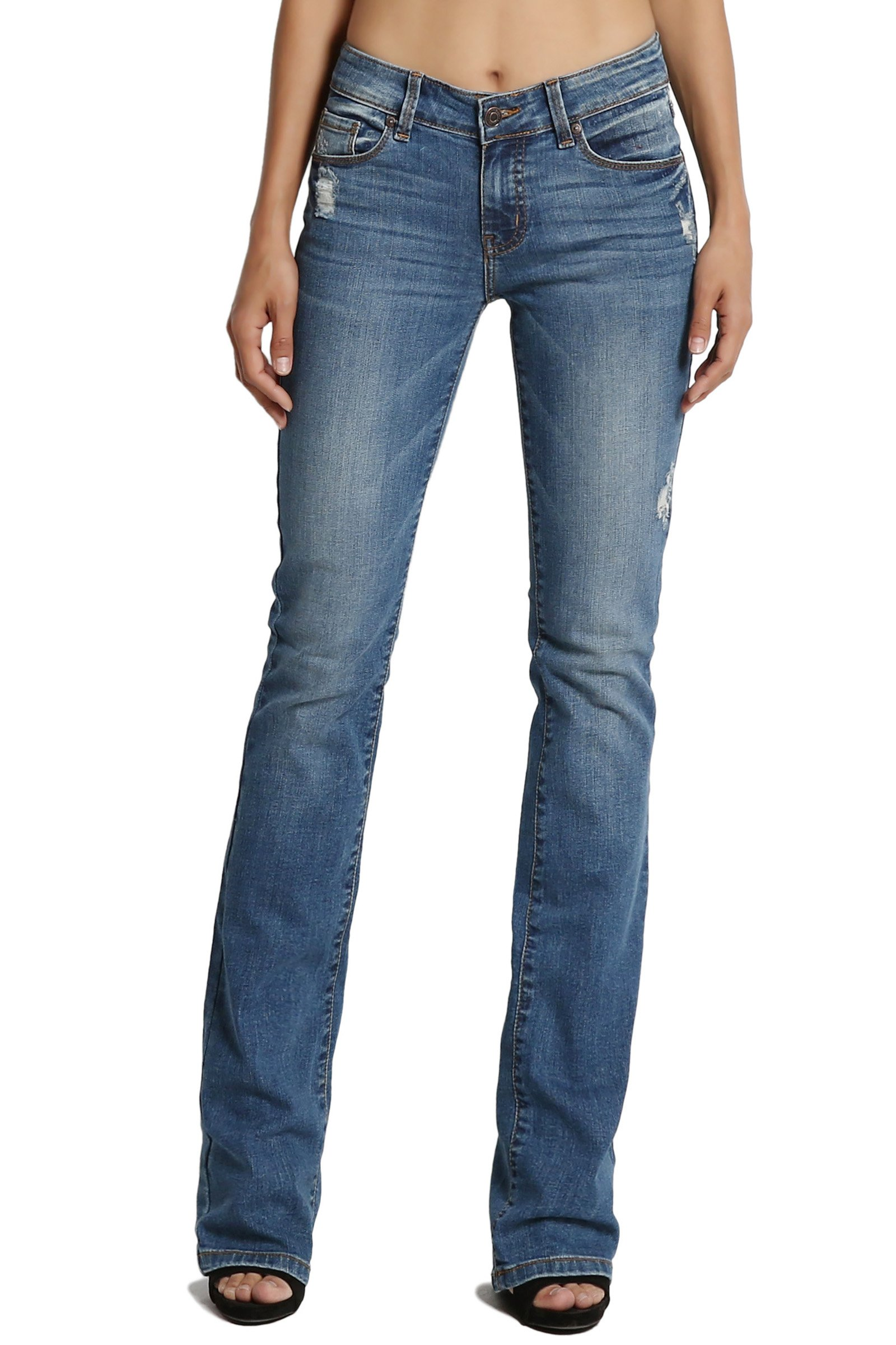 TheMogan Women's Mid Rise Slim Fit Bootcut Jeans with Soft Blue Denim Medium 11