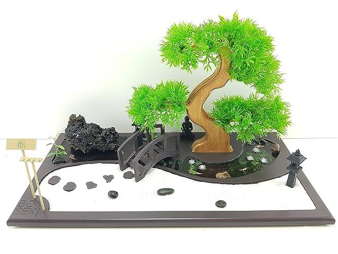 Bonseki® giardino zen miniatura da tavolo rettangolare 40 x 20 cm