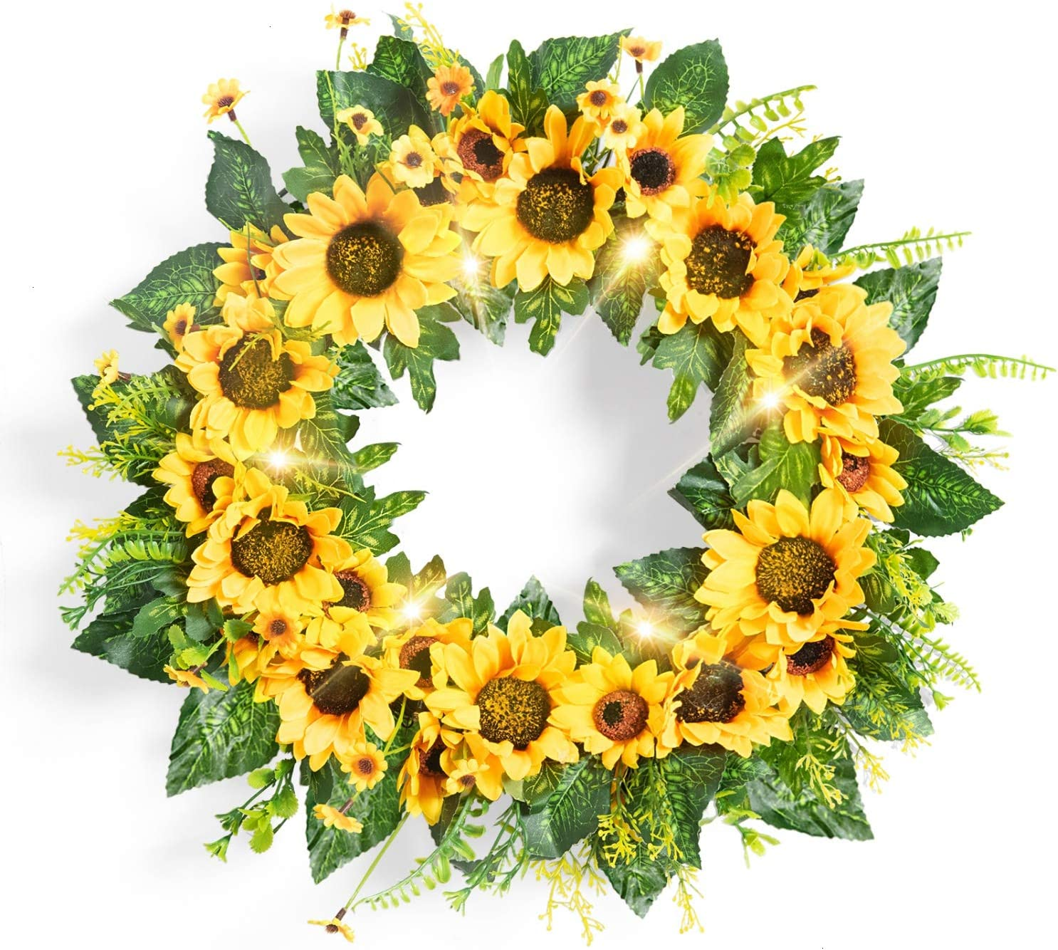 Rocinha Sunflower Wreaths for Front Door Decor 18'' Artificial Summer Floral Wreath with Green Leaf, Large Lighted Spring Wreath for Door, Window, Outdoor, Farmhouse Home Decor