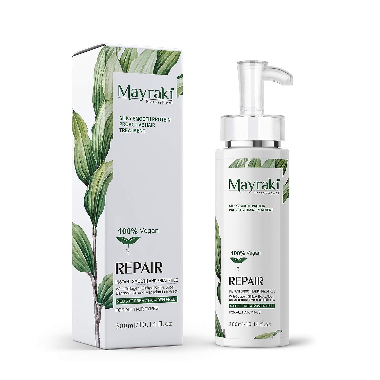 Mayraki Hair Treatment   Silky Smooth Proactive Hair Repair 300ml/10.15 fl. oz, Silicon Free, Sulfate Free Shampoo, Paraben Free, Cruelty Free Hair Care Dandruff Shampoo, Mayraki Hair Products,
