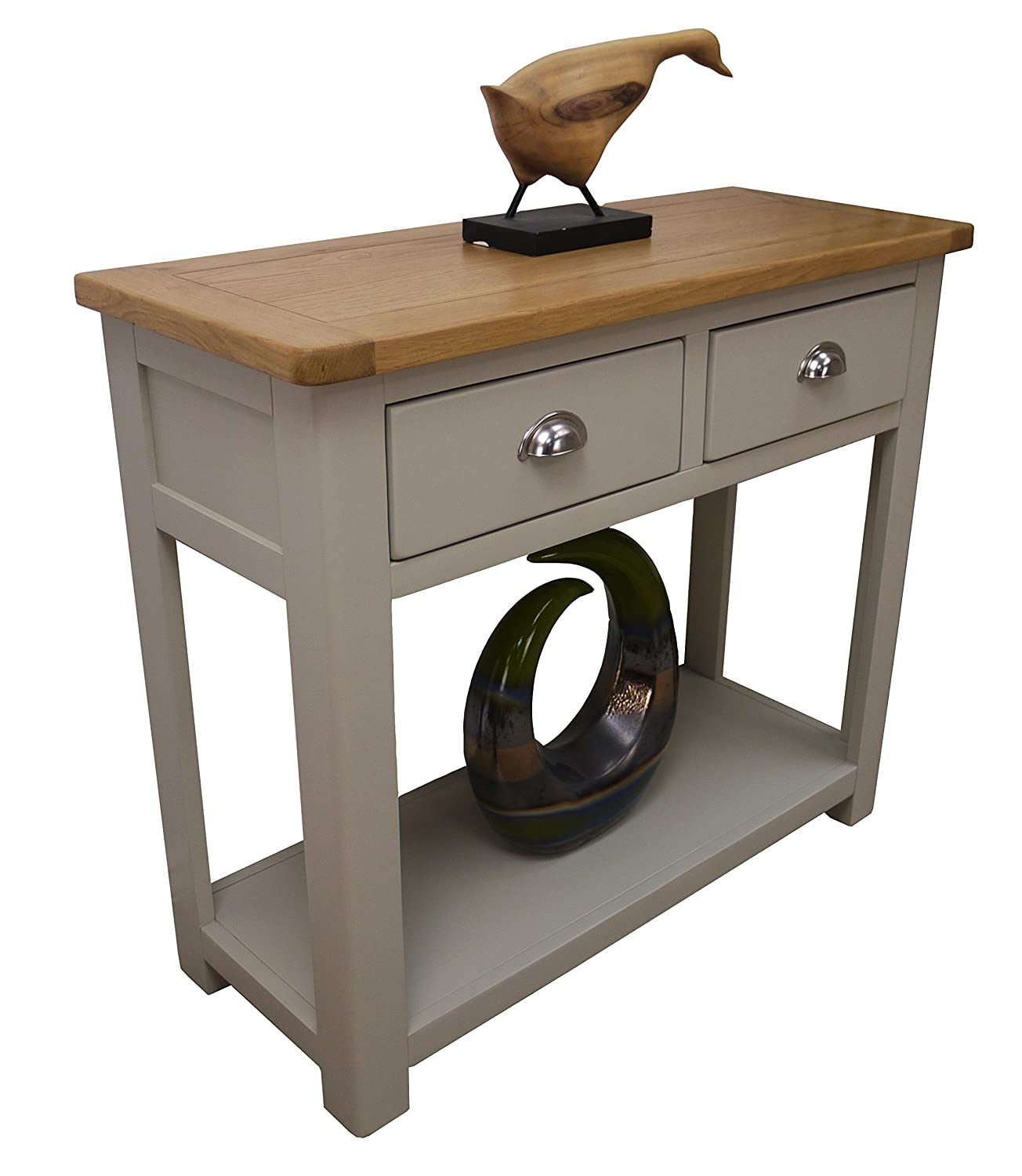 BG kitchen console table Aspen Painted Oak Sage Grey 2 Drawer Console Table Hall Unit With Shelf