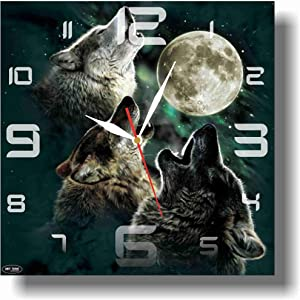 ART TIME PRODUCTION Wolf 11'' Handmade Wall Clock - Get Unique décor for Home or Office – Best Gift Ideas for Kids, Friends, Parents and Your Soul Mates