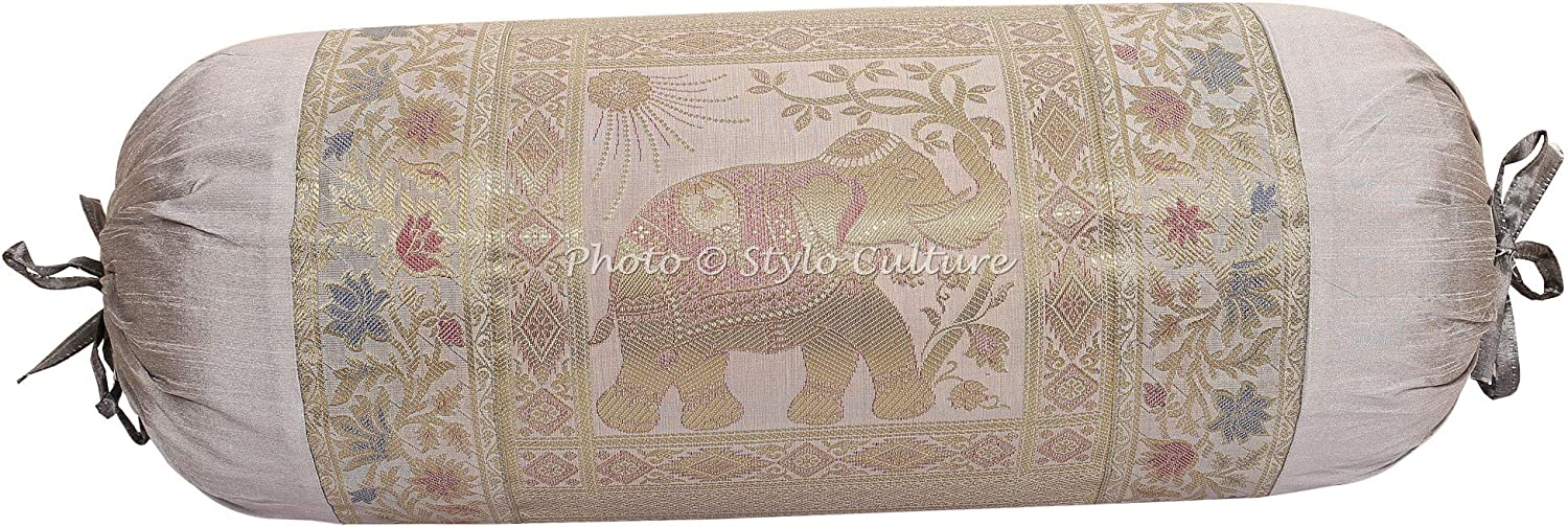 Stylo Culture Indian Polydupion Cylindrical Tube Pillow Bolster Pillow Covers Blue Jacquard Brocade Border Elephant Large Couch Round Cylinder Cushion Covers Set of 2 | 30x15 Inches 76x38 cm