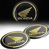 """(Pack of 2) 2-1/8"""" 3D Emblem Decal Honda Logo Fairing/Fender Matte Black & Gold Sticker"""