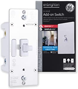 GE Enbrighten Add-On Switch with QuickFit and SimpleWire, GE Z-Wave/GE Zigbee Smart Lighting Controls, Works with Alexa, Google Assistant, NOT A STANDALONE SWITCH, Toggle, 46200,White 1-pack