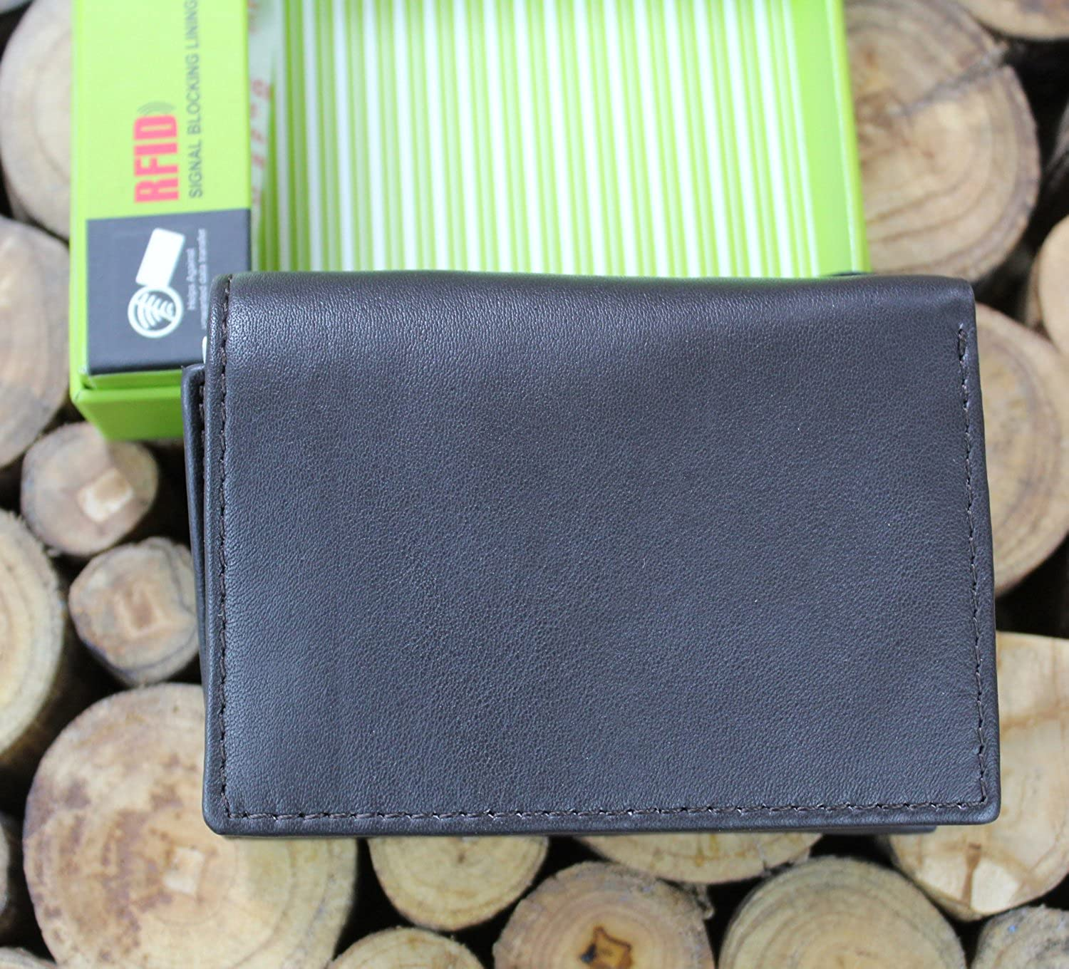 RFID Leather Credit Card Holder Small Trifold Wallet With Box