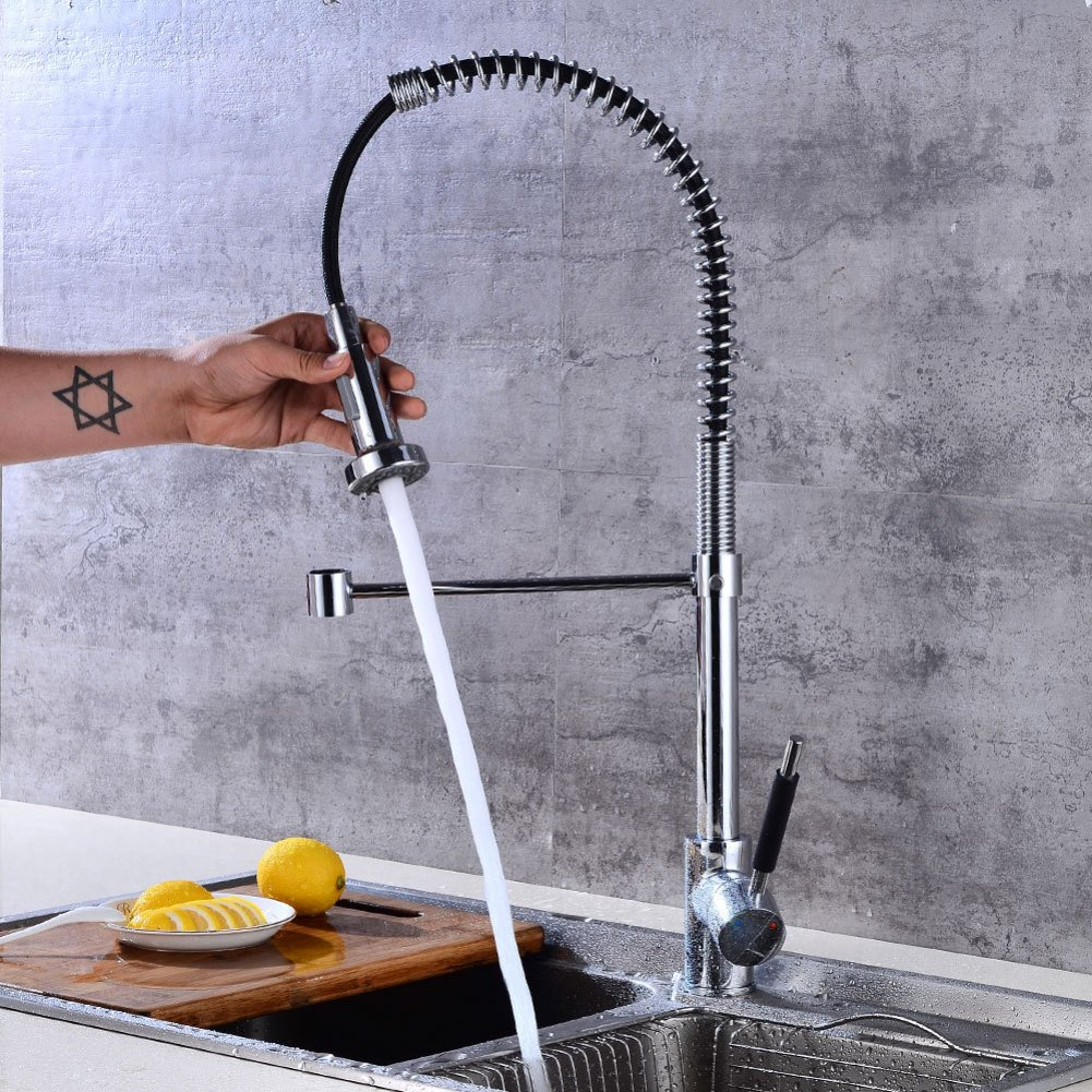 GZF Faucet 360 degrees redating kitchen faucet pull spring sink faucet double water hot function faucet