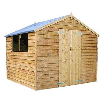 8x8 overlap wooden apex garden storage shed double doors windows by waltons