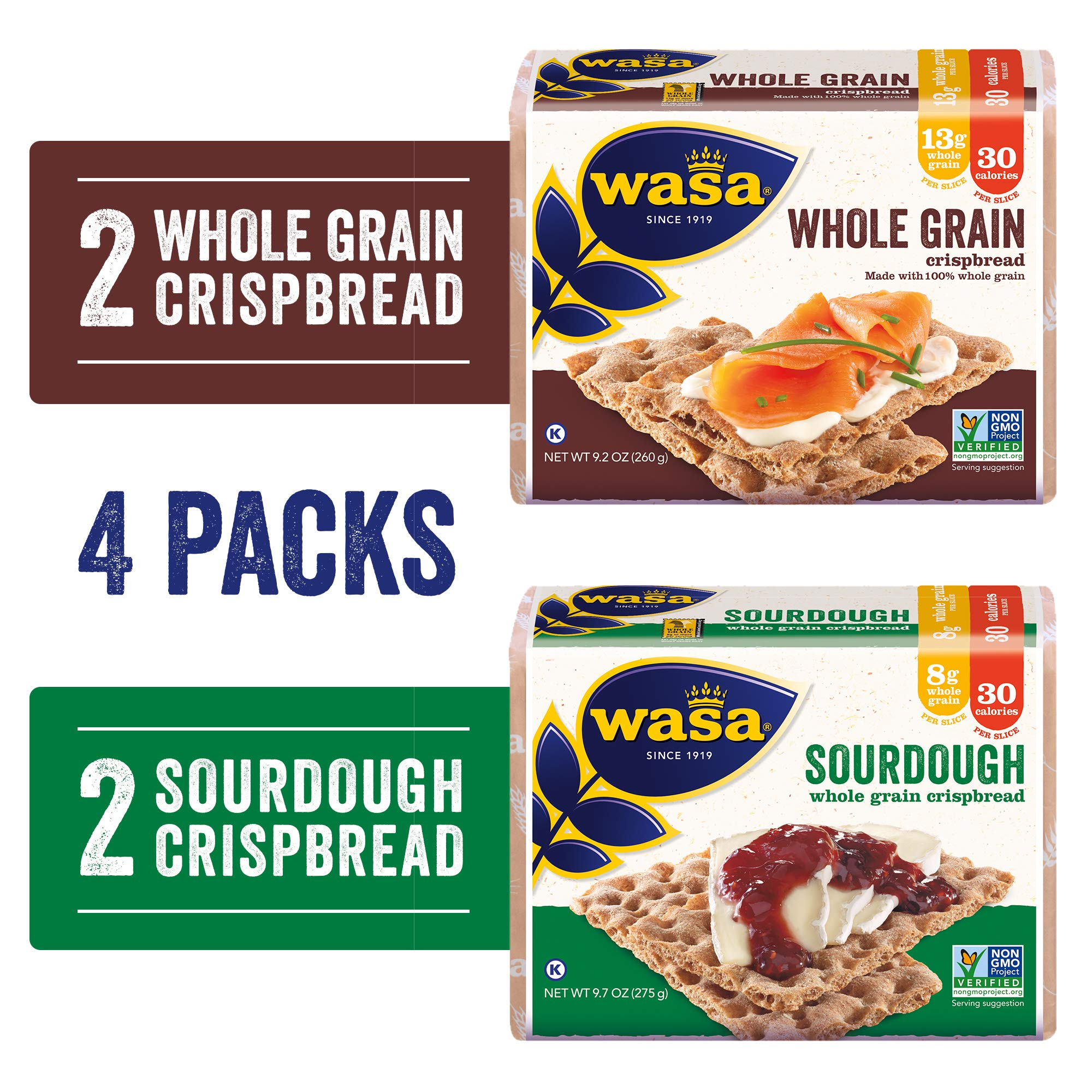 Wasa Swedish Crispbread Variety 4 Pack, Sourdough (Pack Of 2) & Whole Grain (Pack Of 2), All-Natural Crackers, Fat Free, No Saturated Fat, 0g of Trans Fat, No Cholesterol, Kosher Certified, 3 Lb by Wasa