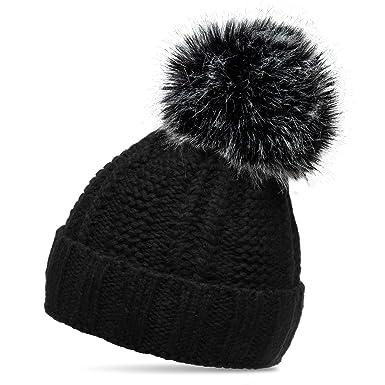 3b55ec273ba CASPAR MU162 Women Winter Bobble Hat with Large XL Pom Pom Cuffed with  Chunky Knit Design
