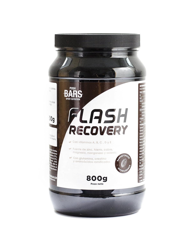 PUSH BARS FLASH RECOVERY Complemento alimenticio en polvo a base de hidratos de carbono y proteína. Con glutamina, creatina, y aminoácidos ramificados.