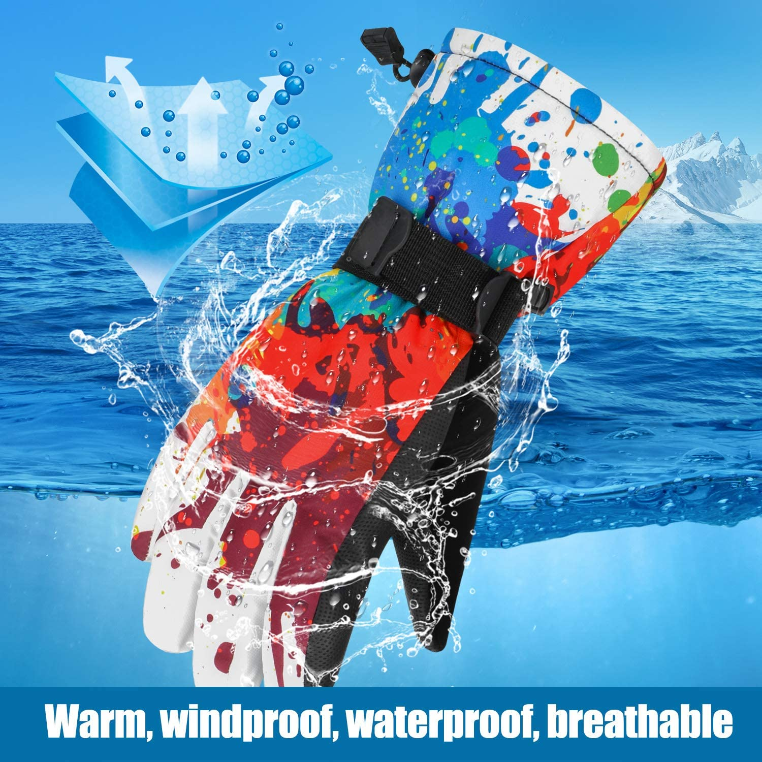 Impermeabile Inverno Outdoor Guanti Sport Meglio per Lo Sci Snow Snowboard Motoslitta Formato per Gli Uomini Adulti Oumers Guanti da Sci