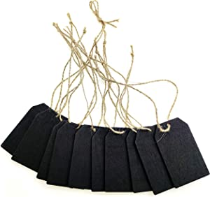 30 Pcs Chalkboard Tags Mini Hanging Wooden Rectangle Labels with Twine, Double Sided Small Vintage Rustic Blackboard Message Tags Display for Wedding, Bar, Restaurant, Wall Decor & DIY