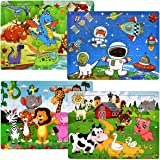 Wooden Jigsaw Puzzles for Kids Ages 4-8 Year Old, [60 Piece] 4 Theme Colorful Wooden Puzzles for Toddler Children Learning Educational Puzzles Toys for Boys and Girls