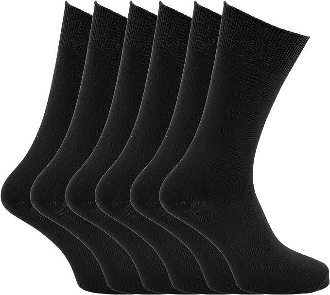 Hombre lisa 100% calcetines de algodón (Pack de 6) - algodón ...