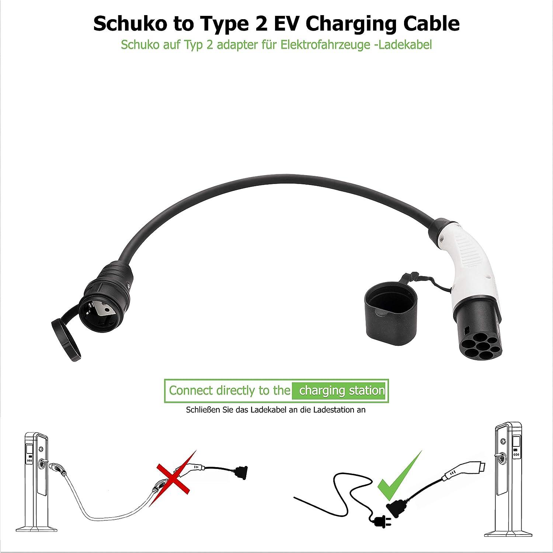 avec Type 2 Noir//Blanc IEC 62196 et connecteur Standard EU Plug Connector Titre: EV//PHEV C/âble Adaptateur de Chargement pour v/éhicule /électrique 32 A 7,6 KW monophas/é Schuko vers Type 2