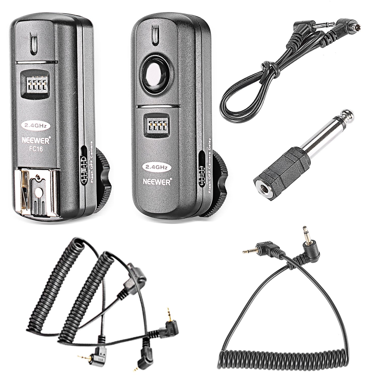 Neewer FC-16 3-IN-1 2.4GHz Wireless Flash Trigger with Remote Shutter Compatible with Canon Rebel T3 XS T4i T3i T2i Xsi EOS 1100D Mark IV 1D Mark III 5D Mark III 5D Mark II 50D 40D by Neewer
