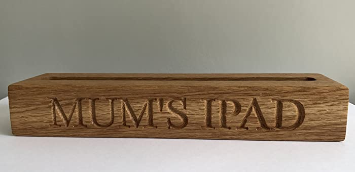 Super Personalised Ipad Holder Tablet Stand In Solid Oak Amazon Home Interior And Landscaping Palasignezvosmurscom