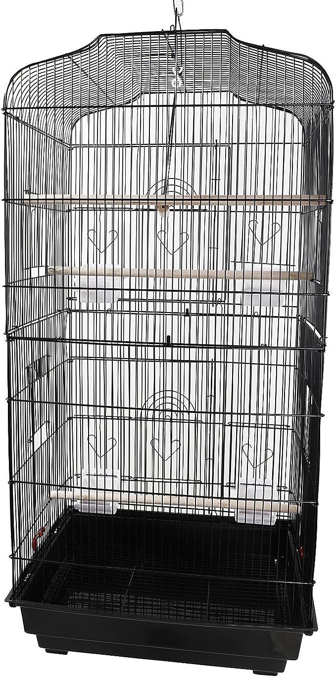 Genrics [US-W] Jaula para loros canarios, periquitos, cacatúas, tortolas, pajaritos, jaula, con perchas de madera y tazas de comida, color negro