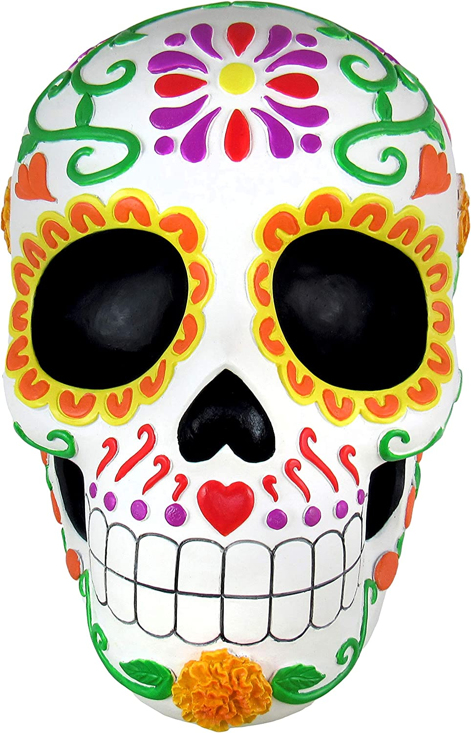 World of Wonders - Fiesta De Muertos Series - Sweet Tribute - Halloween Decorations Sugar Skull Decorative Wall Art Sculpture 3D Calavera Day of the Dead Home Décor Accent, 8.5-inch