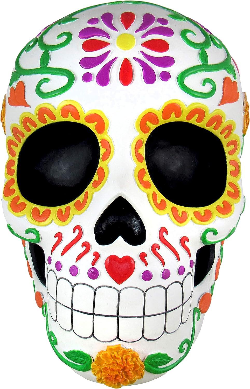 World of Wonders - Fiesta De Muertos Series - Sweet Tribute - Halloween Decorations Sugar Skull Decorative Wall Art Sculpture 3D Calavera Day of the Dead Home Décor Accent, 8.5-inch