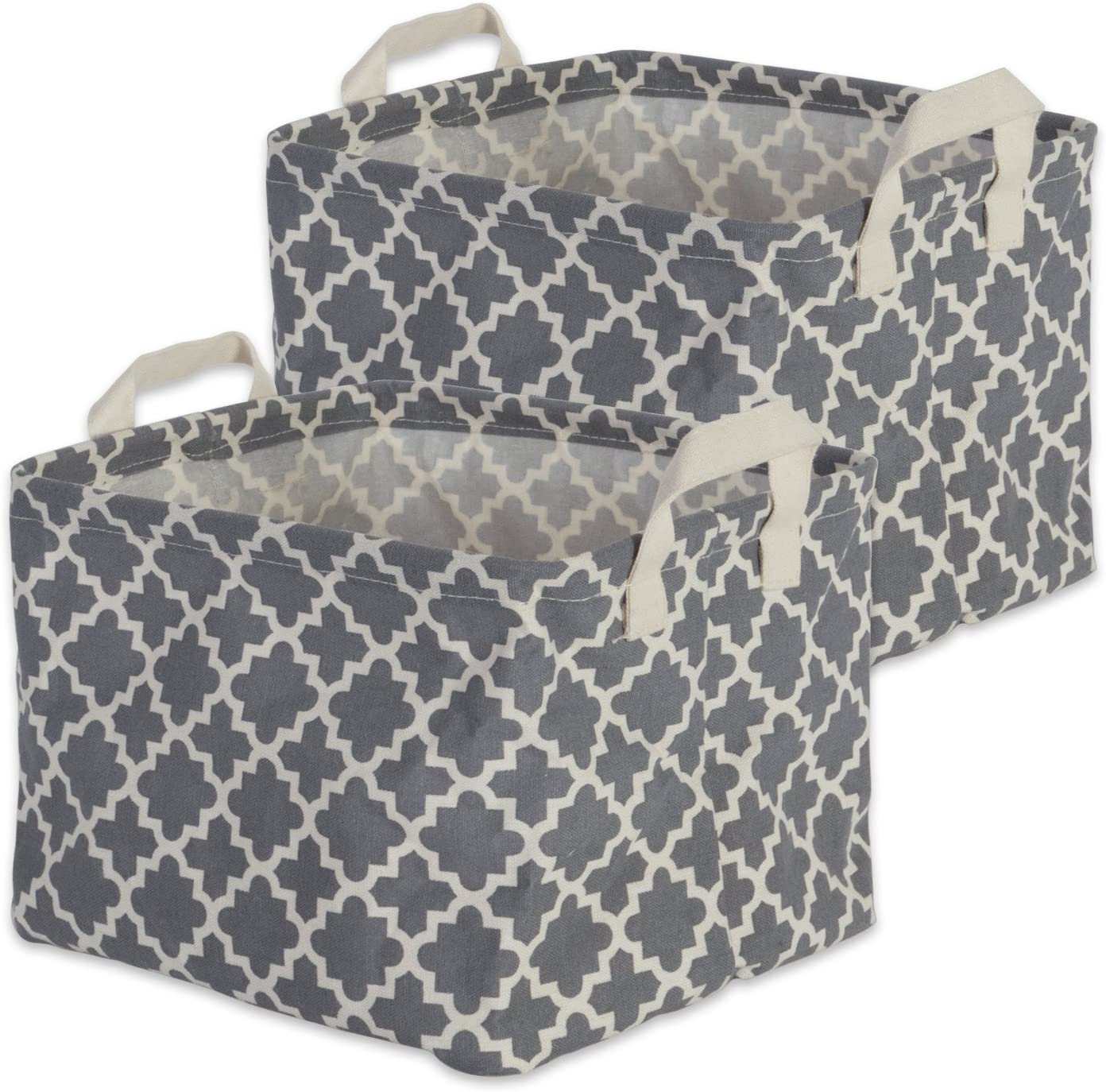 """DII Cotton/Polyester Cube Laundry Basket, Perfect In Your Bedroom, Nursery, Dorm, Closet, 9 x 12 x 8"""", Small Set of 2 - Gray Lattice"""