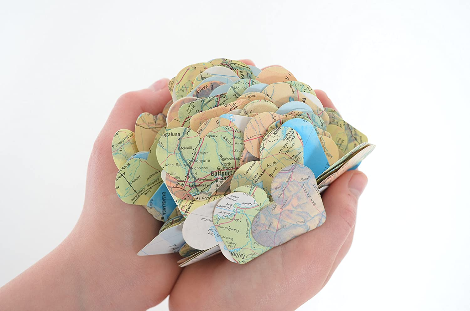 Vintage World Atlas/Map Heart Confetti - 300 ct. Party Decoration