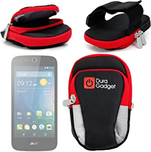 DURAGADGET Black & Red Polyester Sports Armband Case - Compatible with Acer Liquid Z320 | Z330 | M320 & M330 Smartphones