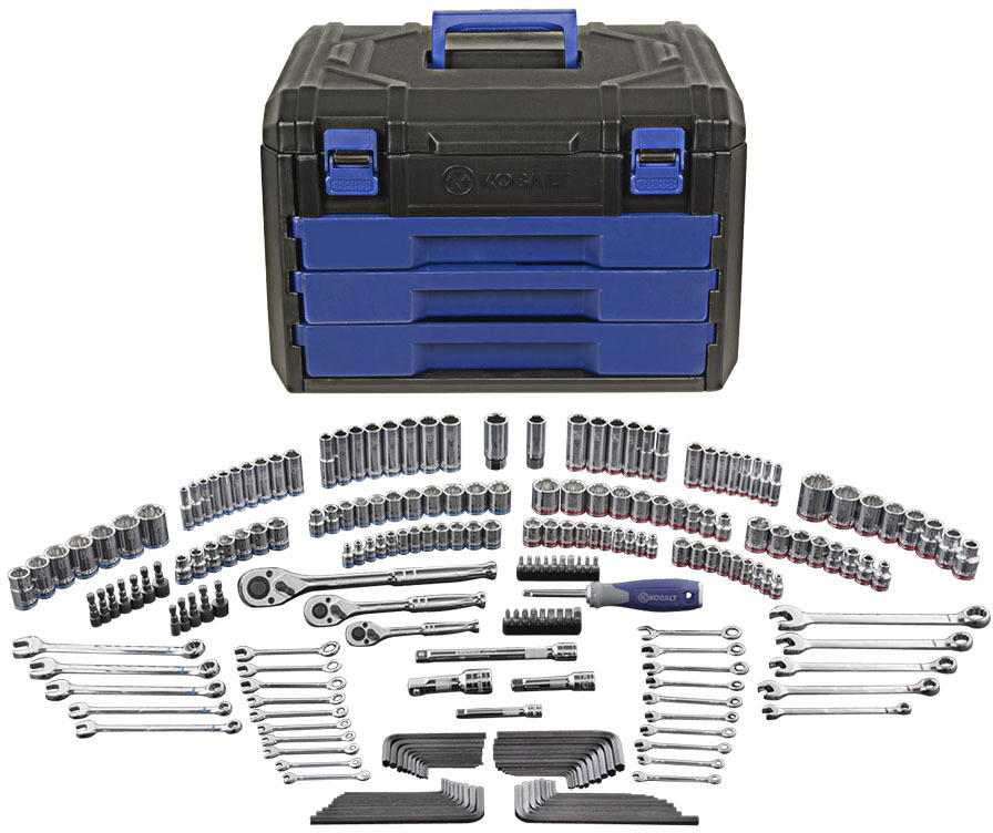 Shop Kobalt 227-Piece Standard (SAE) and Metric Mechanic's Tool Set with Hard Case at Lowes.com