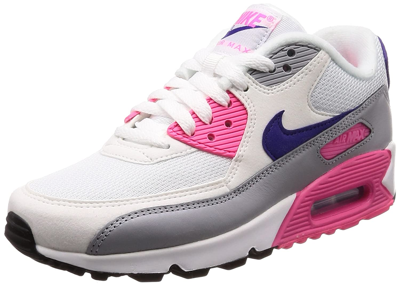 NIKE Damen Air Max 90 Gymnastikschuhe, Pink Mehrfarbig (Weiß/Court Purple/Wolf Grau/Laser Pink Gymnastikschuhe, 136) 26fce4